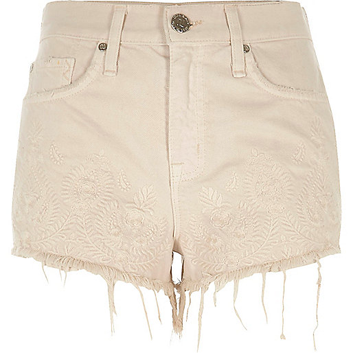 Beige embroidered raw edge denim shorts