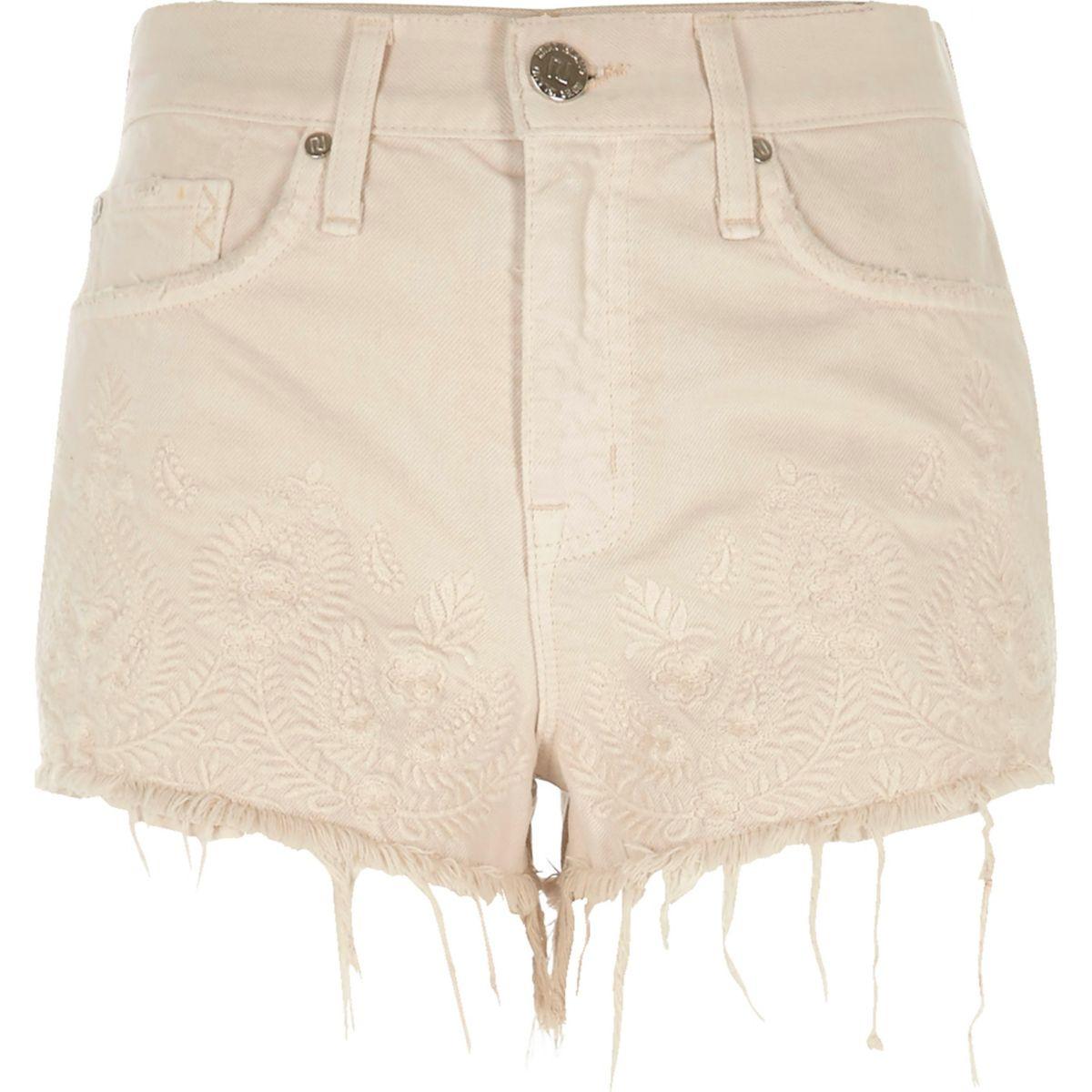 Beige embroidered raw edge denim shorts