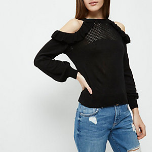 Petite black knit frill cold shoulder top