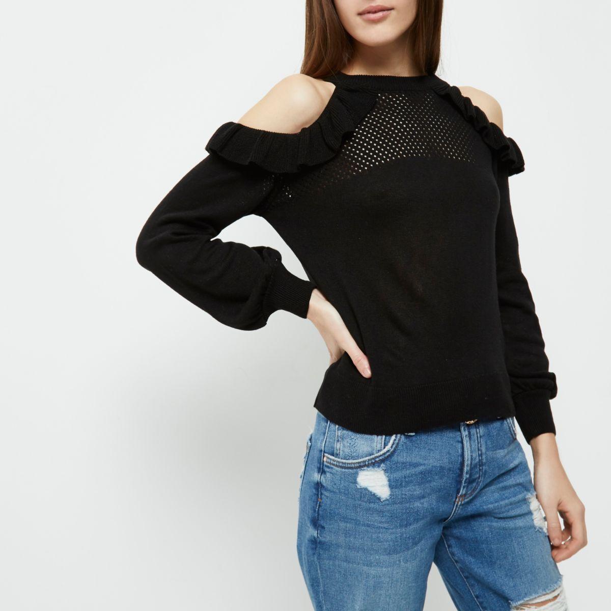 Petite black knit frill cold shoulder top