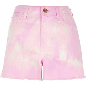 Purple tie dye high waisted denim shorts
