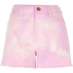 Short en jean taille haute violet effet tie-dye