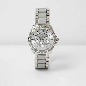 Grey silver tone rhinestone watch