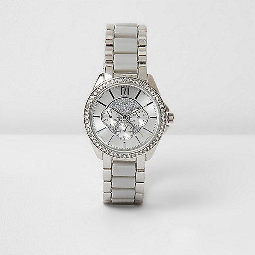 Grey silver tone rhinestone watch