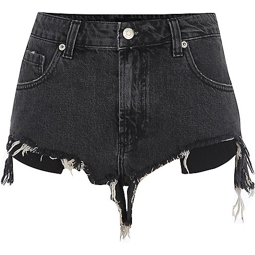 Black ripped hem denim shorts