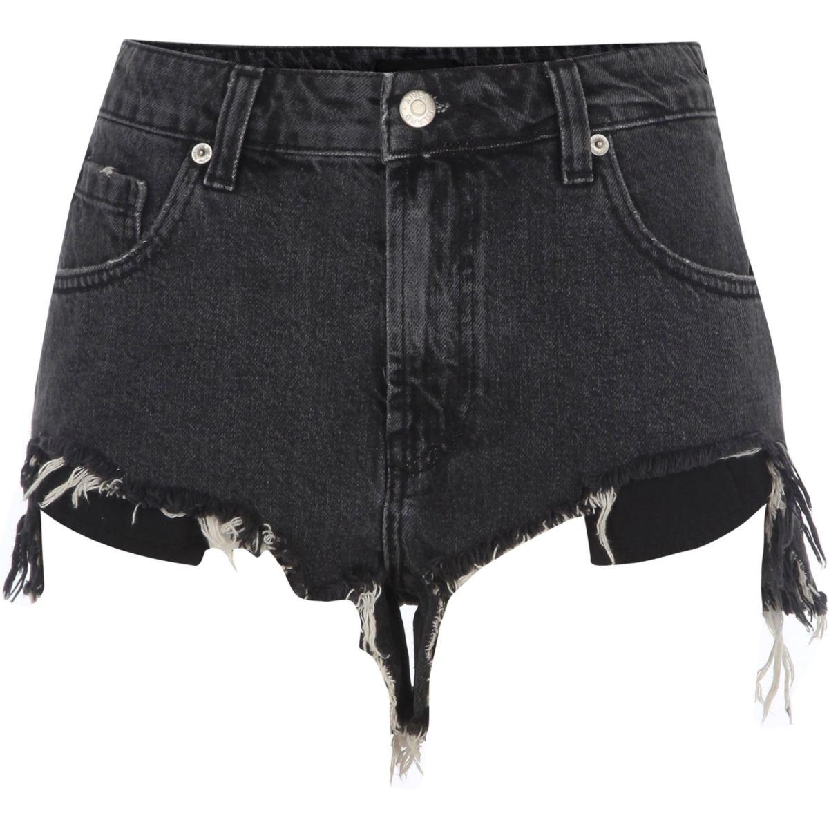 Black ripped hem denim shorts