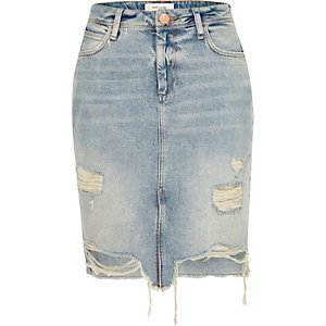 Mid blue wash ripped denim skirt