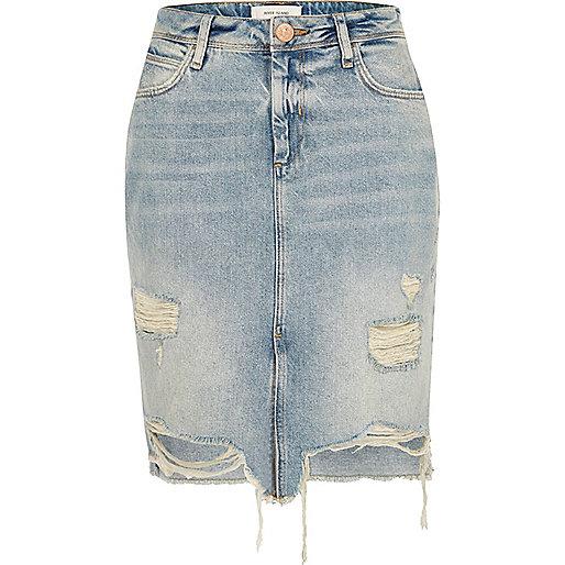 Mid blue wash ripped denim skirt