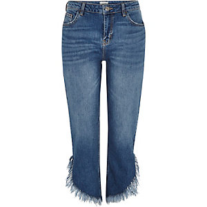 Mid blue frayed hem cropped jeans