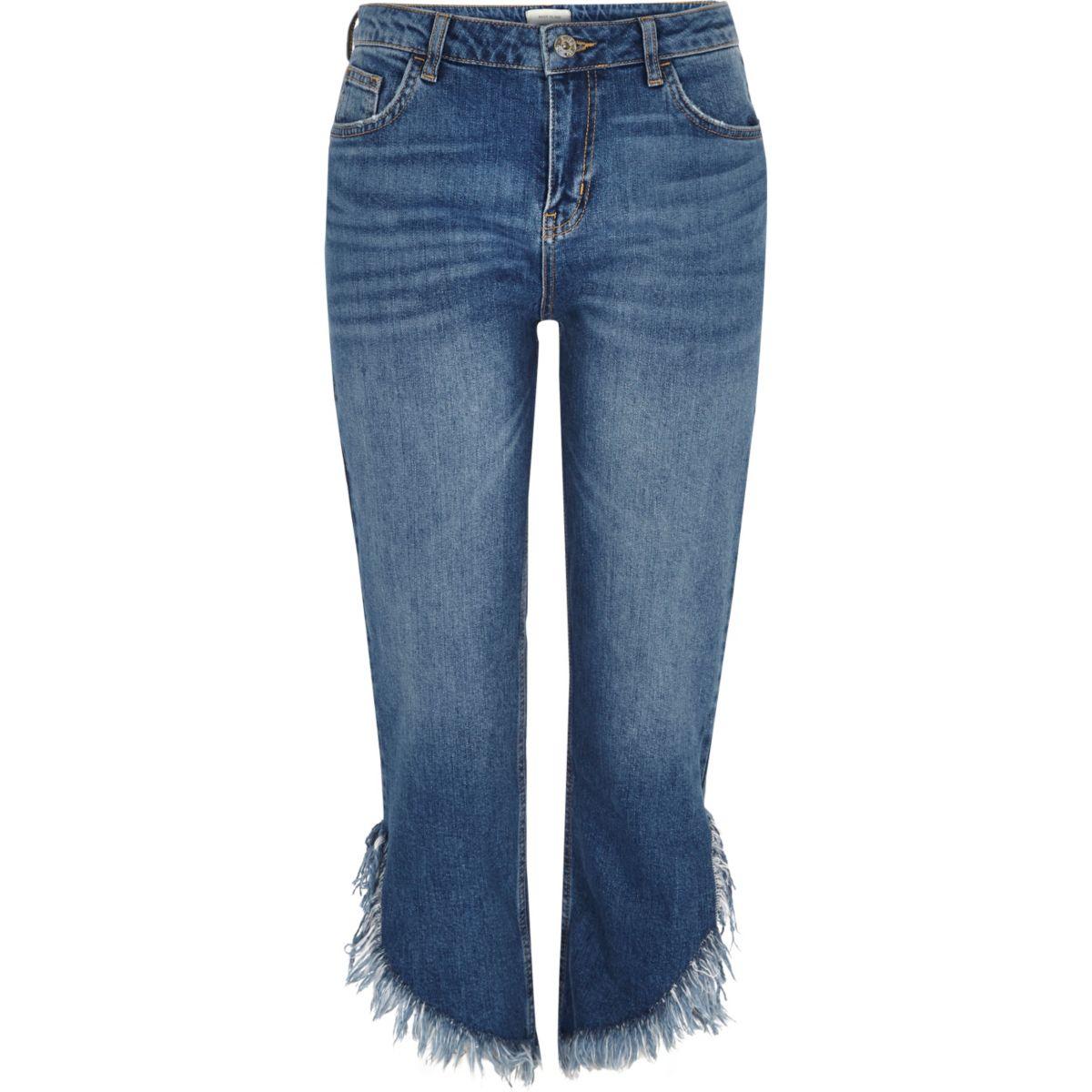 Mid blue frayed hem cropped jeans