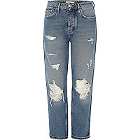 Mid blue wash ripped loose boyfriend jeans
