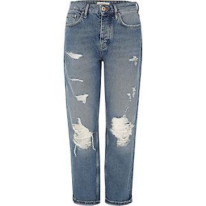Mid blue wash ripped loose boyfriend jeans