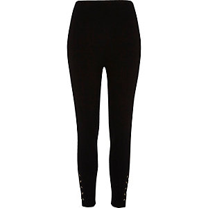 Black eyelet hem leggings