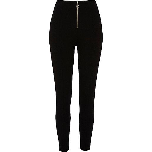 Black zip front leggings