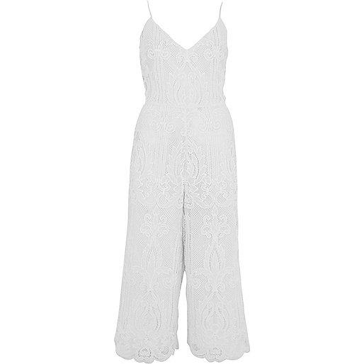 White lace cami culotte jumpsuit