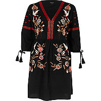 Black embroidered smock swing dress