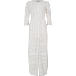 White lace panel embroidered maxi shirt dress