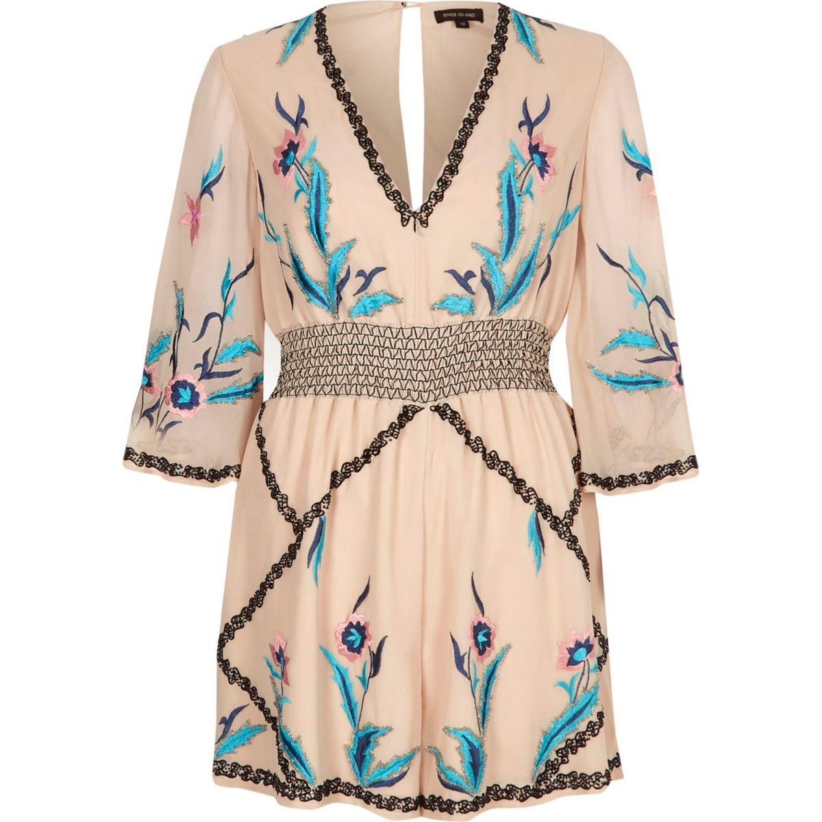 Cream floral embellished kimono romper