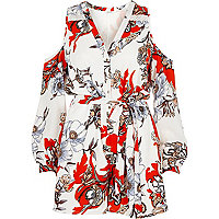 Cream floral print cold shoulder playsuit