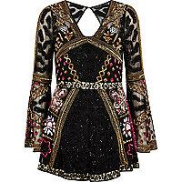 Black bead embellished kimono sleeve romper