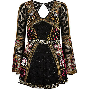 Black bead embellished kimono sleeve playsuit