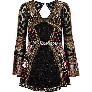 Combi-short noir orné de perles à manches kimono