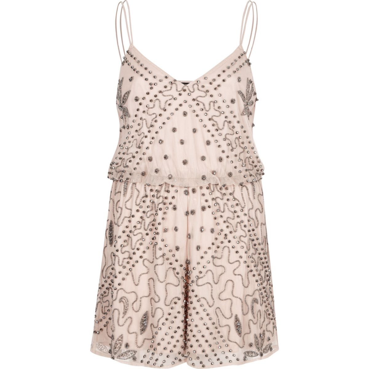 Pink nude embellished cami playsuit