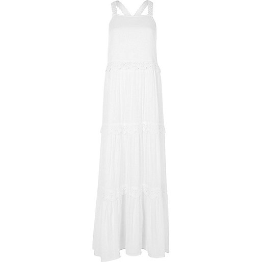 White tiered broderie maxi dress