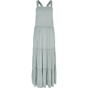 Lichtgroene gelaagde maxi-jurk met borduursel