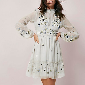 Light grey floral embroidered dress