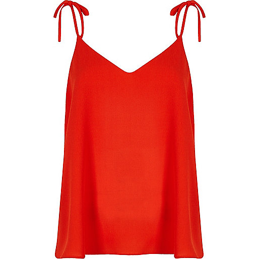 Red bow shoulder cami top