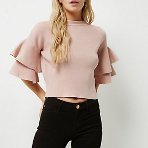 Petite pink knit double frill sleeve top