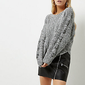 Petite grey cross stitch sleeve knit sweater