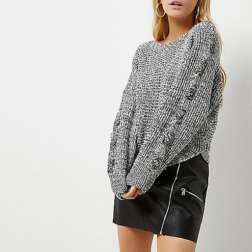 Petite grey cross stitch sleeve knit jumper