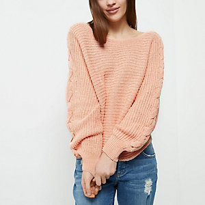 Petite coral ribbed knit cross sleeve sweater