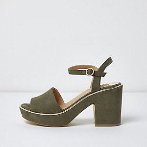 Sandales vert kaki à plateforme