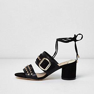 Zwarte sandalen met studs, blokhak en veters