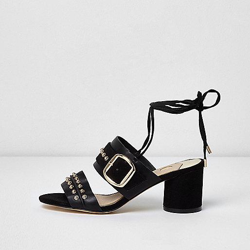 Black studded tie up block heel sandals