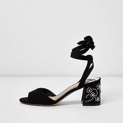 Black tie up studded block heel sandals