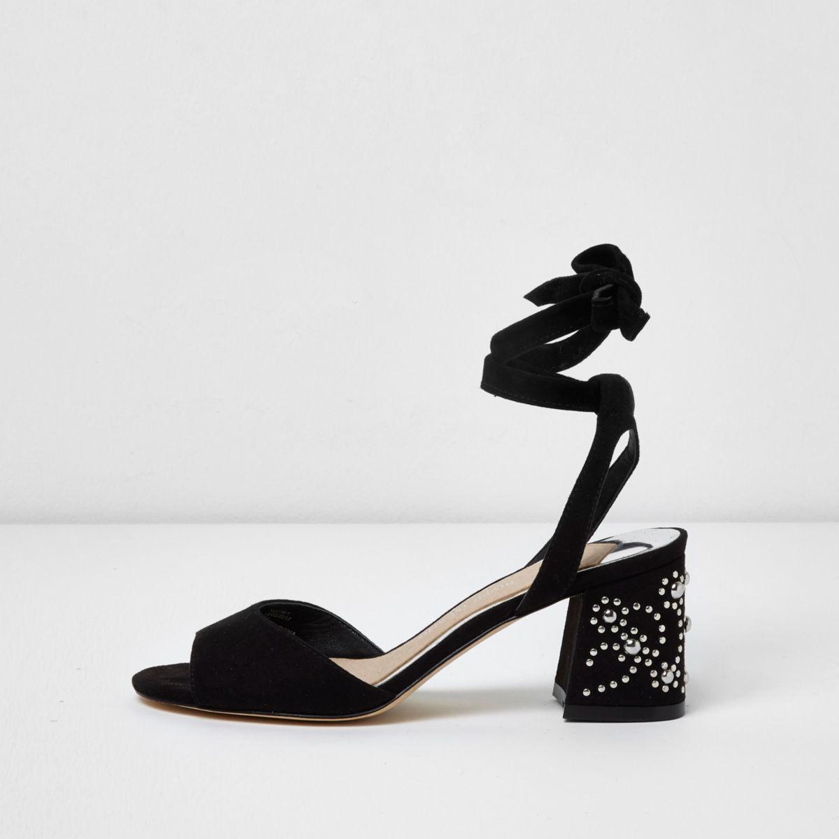Black tie up studded block heel sandals