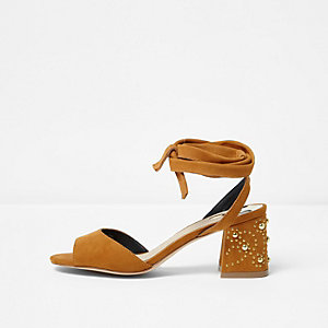 Light brown tie up embellished heel sandals