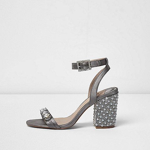 Grey embellished block heel sandals