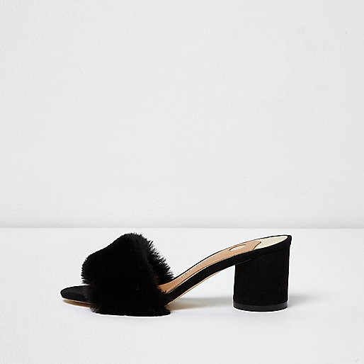 Black faux fur block heel mules