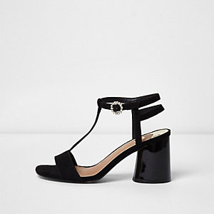 Black T-bar block heel sandals