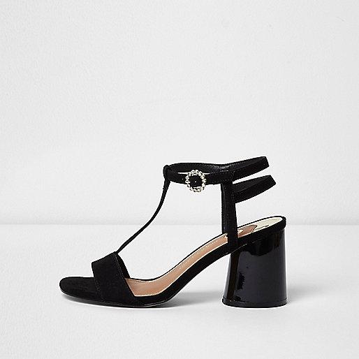 Black T-bar block heel sandals