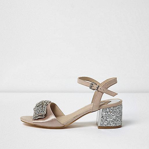 Light pink rhinestone bow block heel sandals