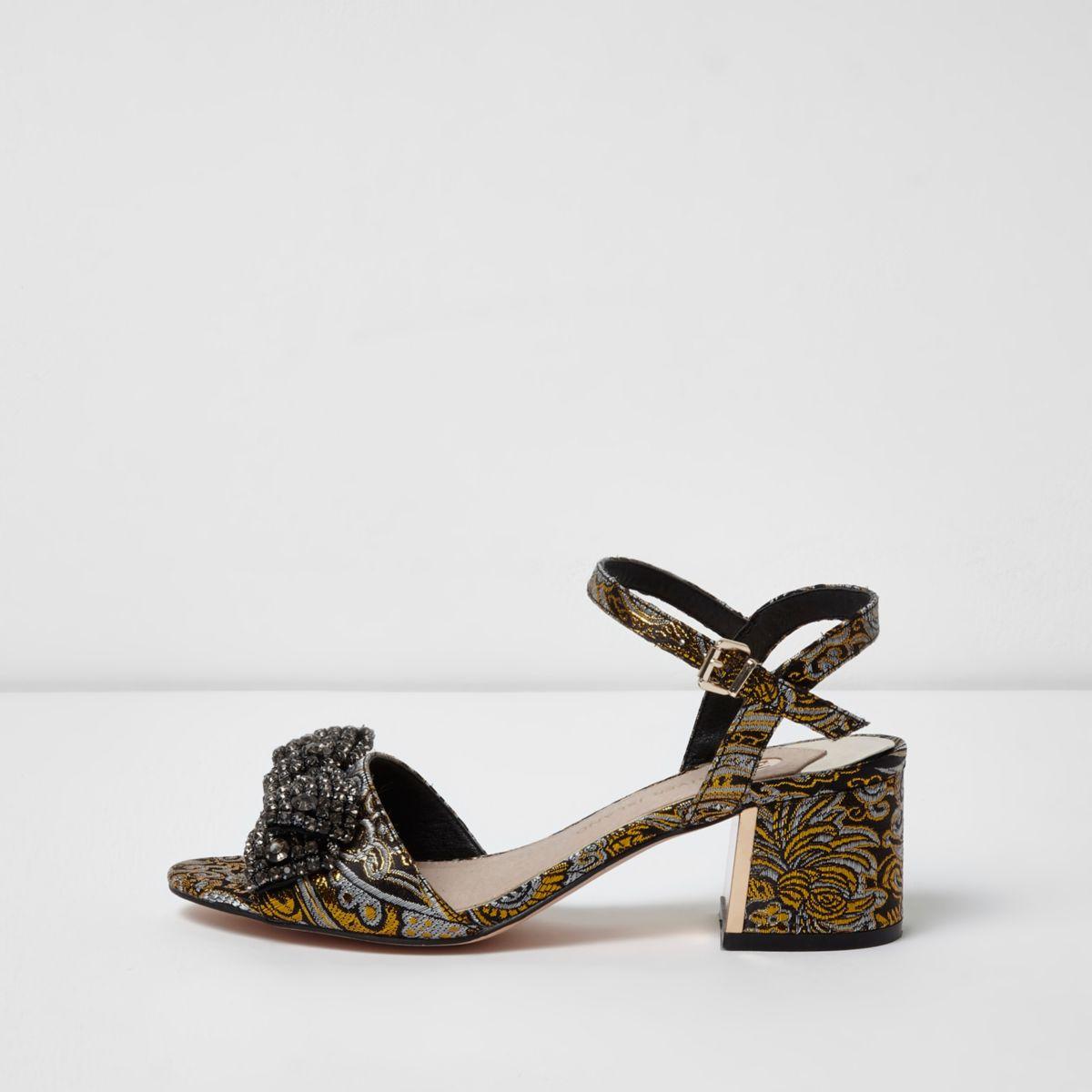 Yellow block heel embellished sandals