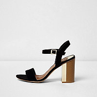 Black block heel sandals