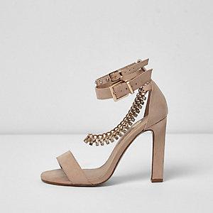 Sandales rose clair à strass détail chaîne