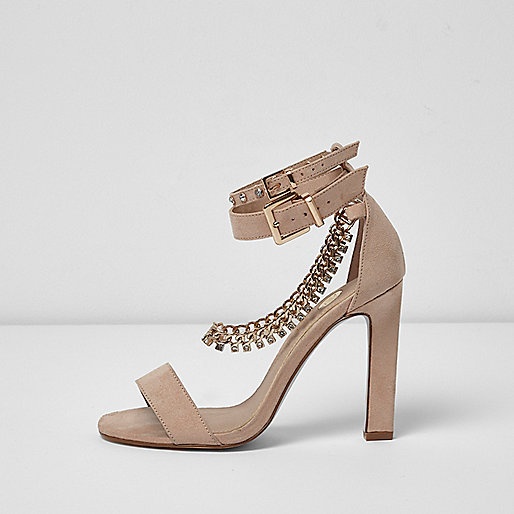Light pink diamante chain sandals
